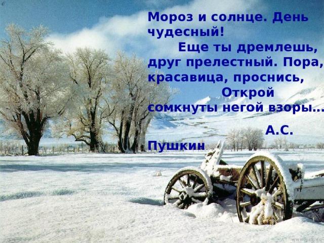 мороз и солнце день чудесный картинка с надписью ищете