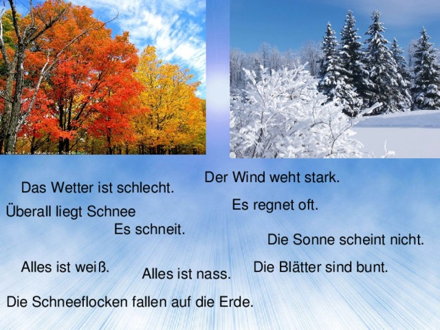 Картинки времен года по немецки