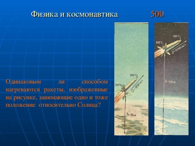 Физика и космонавтика 500 Одинаковым ли способом нагреваются ракеты, изображенные на рисунке, занимающие одно и тоже положение относительно Солнца?
