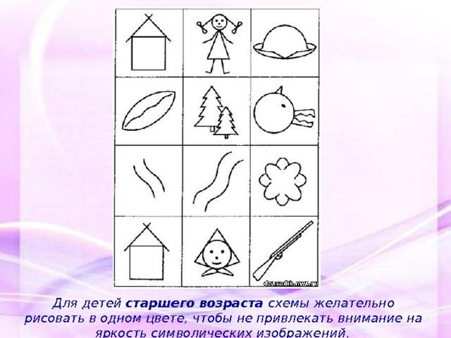 Для детей старшего возраста схемы желательно рисовать в одном цвете,  чтобы не привлекать внимание на яркость символических изображений .
