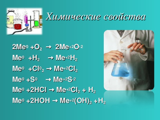 Химические свойства 2Me 0 +O 2 → 2Me +2 O -2 Me 0 +H 2 → Me +2 H 2 Me 0 +Cl 0 2 → Me +2 Cl 2 Me 0 +S 0 → Me +2 S -2  Me 0 +2HCl → Me +2 Cl 2 + H 2  Me 0 +2HOH → Me +2 (OH) 2 + Н 2