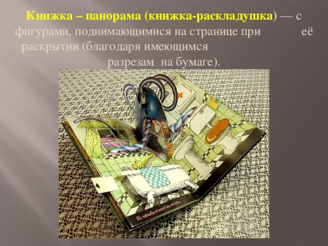 Книжка – панорама (книжка-раскладушка ) — с фигурами, поднимающимися на странице при её раскрытии (благодаря имеющимся разрезам на бумаге).
