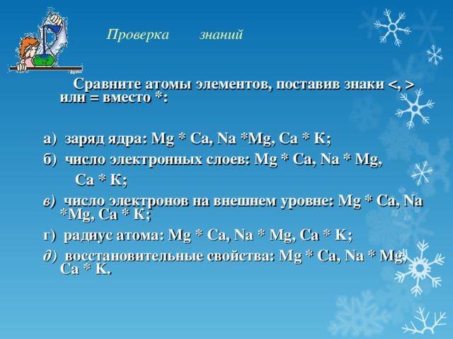 Проверка знаний  Сравните атомы элементов, поставив знаки  или = вместо *:  а) заряд ядра: Mg * Ca , Na * Mg , Ca * К; б) число электронных слоев: Mg * Ca , Na * Mg ,  Ca * К; в) число электронов на внешнем уровне: Mg * Ca , Na * Mg , Ca * К; г) радиус атома: Mg * Ca , Na * Mg , Ca * K ; д) восстановительные свойства: Mg * Ca , Na * Mg , Ca * K .