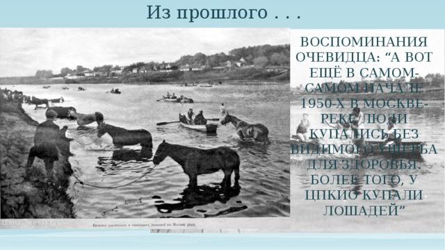 """Из прошлого . . . Воспоминания очевидца: """"А вот ещё в самом-самом начале 1950-х в Москве-реке люди купались без видимого ущерба для здоровья. Более того, у ЦПКиО купали лошадей"""" Вот раньше в Москва-реке было можно купаться. Причем не понятно, действительно ли была чистая вода, или люди были не менее требовательные."""