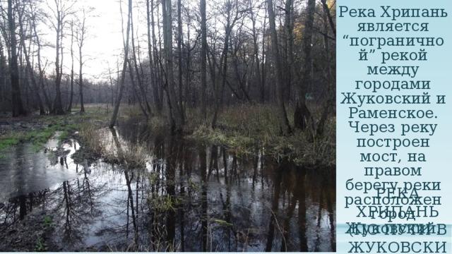 """Река Хрипань является """"пограничной"""" рекой между городами Жуковский и Раменское. Через реку построен мост, на правом берегу реки расположен город Жуковский. Река Хрипань (по пути в Жуковский)"""