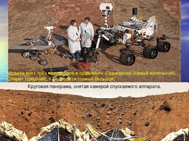 Модели всех трёх марсоходов в сравнении: Соджорнер (самый маленький), Спирит (средний), Кьюриосити (самый большой) Круговая панорама, снятая камерой спускаемого аппарата.