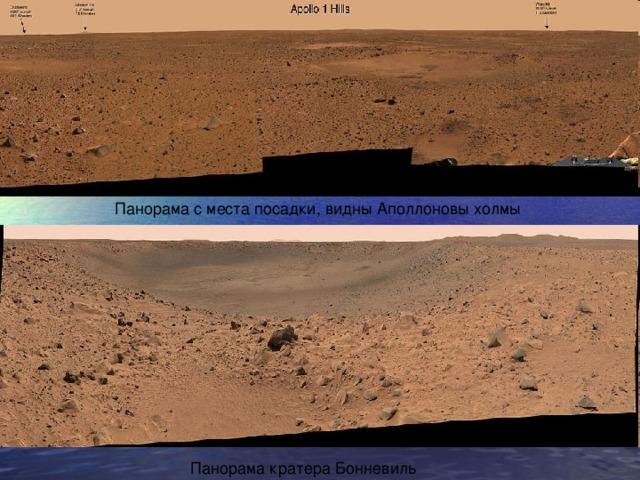 Панорама с места посадки, видны Аполлоновы холмы Панорама кратера Бонневиль