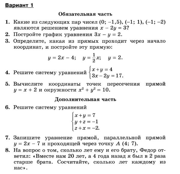 Контрольная работа по теме линейные уравнения 4217