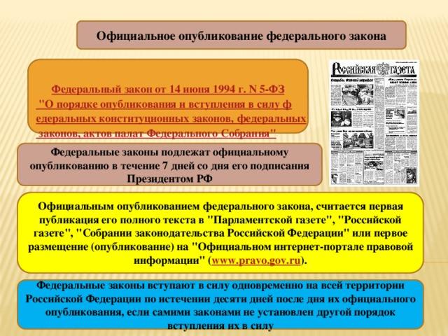 в каком издании публикуются федеральные законы