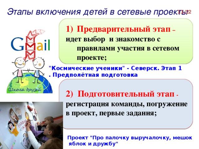 Этапы включения детей в сетевые проекты  / 2 2 Предварительный этап – идет выбор и знакомство с правилами участия в сетевом проекте;