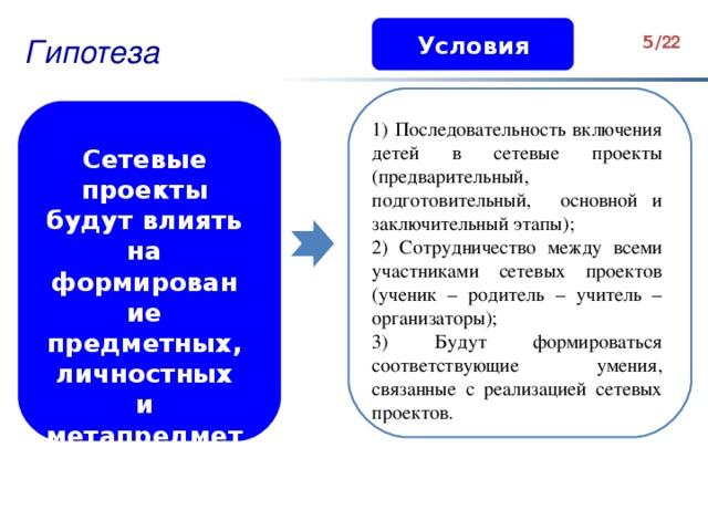 Условия Гипотеза 3 / 2 2  Сетевые проекты будут влиять на формирование предметных, личностных и метапредметных результатов 1) Последовательность включения детей в сетевые проекты (предварительный, подготовительный, основной и заключительный этапы); 2) Сотрудничество между всеми участниками сетевых проектов (ученик – родитель – учитель – организаторы); 3) Будут формироваться соответствующие умения, связанные с реализацией сетевых проектов. Анализ научной литературы, педагогического опыта, а также изучение реального положения дел в школе позволили нам выявить противоречия : между необходимостью совершенствования процесса обучения, в рамках нового ФГОС НОО, ориентацией на деятельностную основу обучения и недостаточным использованием ресурсов сетевой проектной деятельности в общеобразовательной школе.